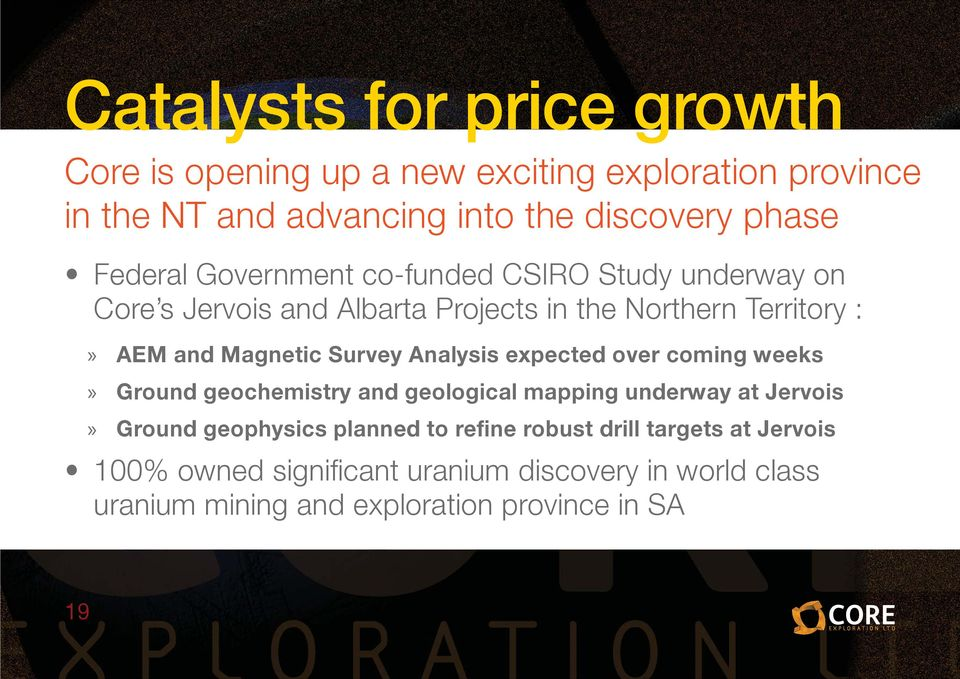 Survey Analysis expected over coming weeks» Ground geochemistry and geological mapping underway at Jervois» Ground geophysics planned to