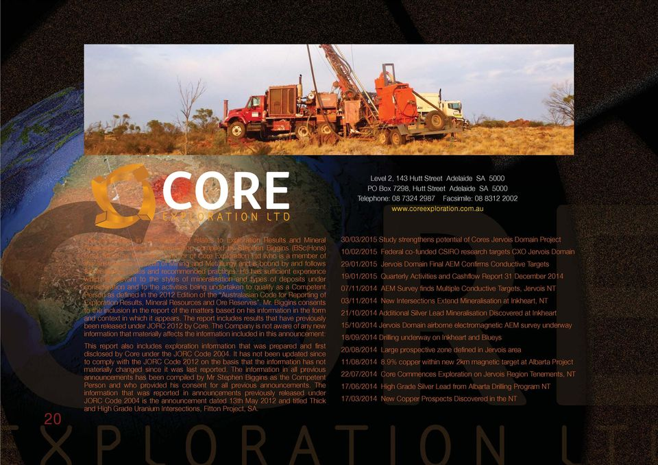 Exploration Ltd who is a member of the Australasian Institute of Mining and Metallurgy and is bound by and follows the Institute s codes and recommended practices.