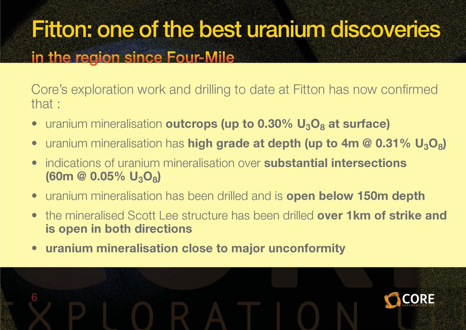 31% U 3 O 8 ) indications of uranium mineralisation over substantial intersections (60m @ 0.