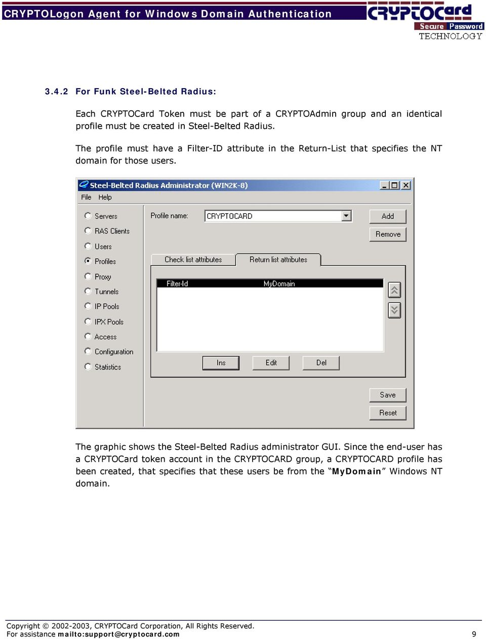 The graphic shows the Steel-Belted Radius administrator GUI.