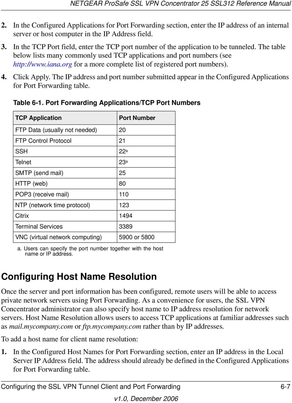 org for a more complete list of registered port numbers). 4. Click Apply. The IP address and port number submitted appear in the Configured Applications for Port Forwarding table. Table 6-1.