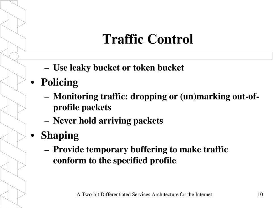 packets Shaping Provide temporary buffering to make traffic conform to the