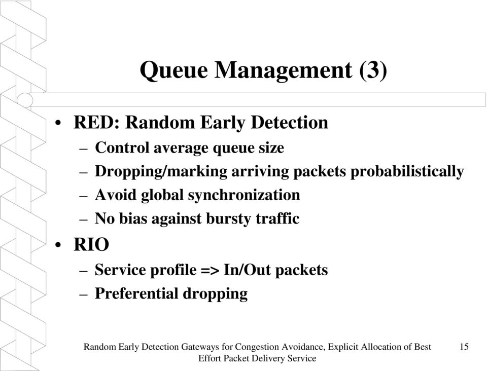 against bursty traffic RIO Service profile => In/Out packets Preferential dropping Random