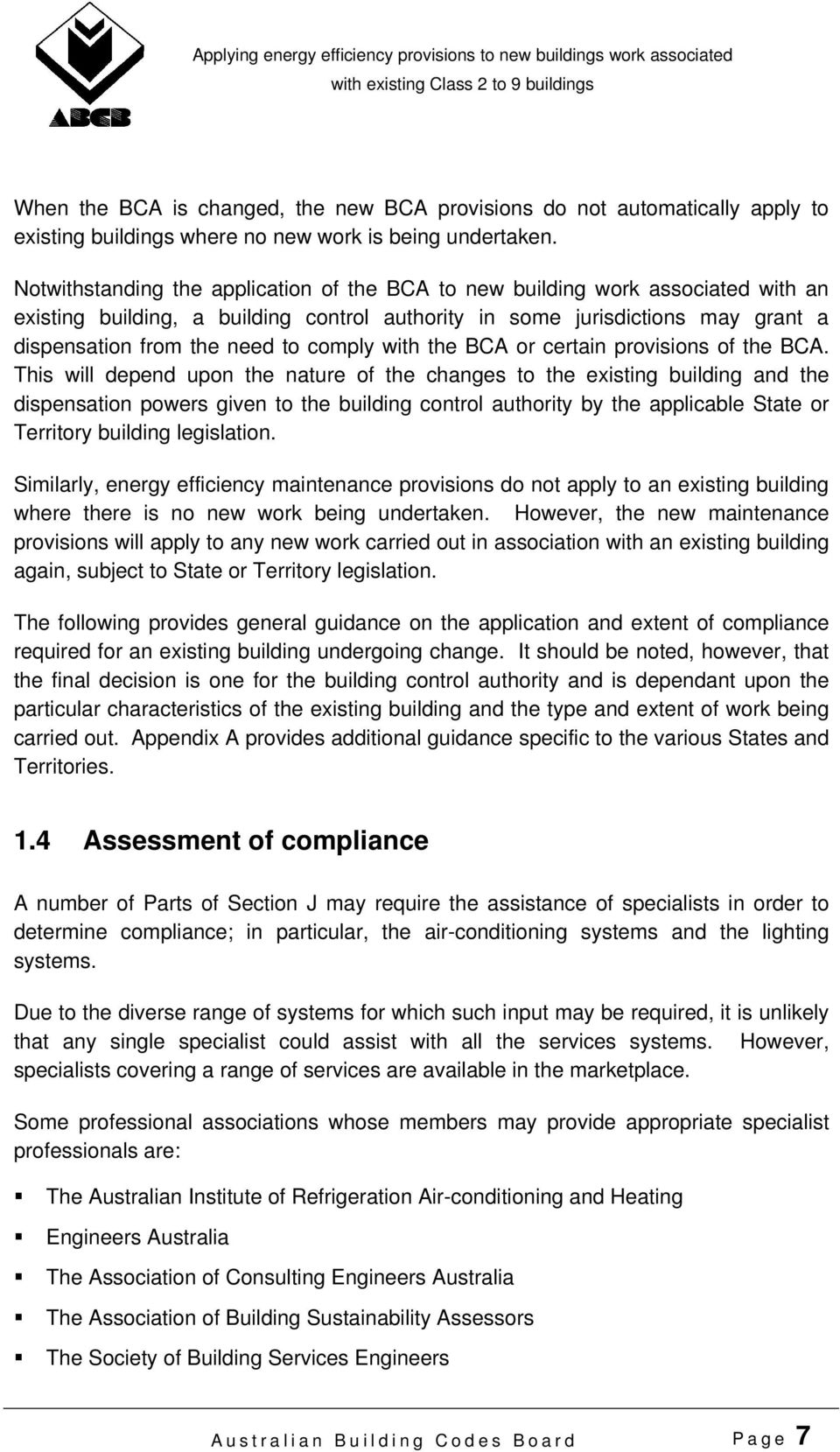 comply with the BCA or certain provisions of the BCA.