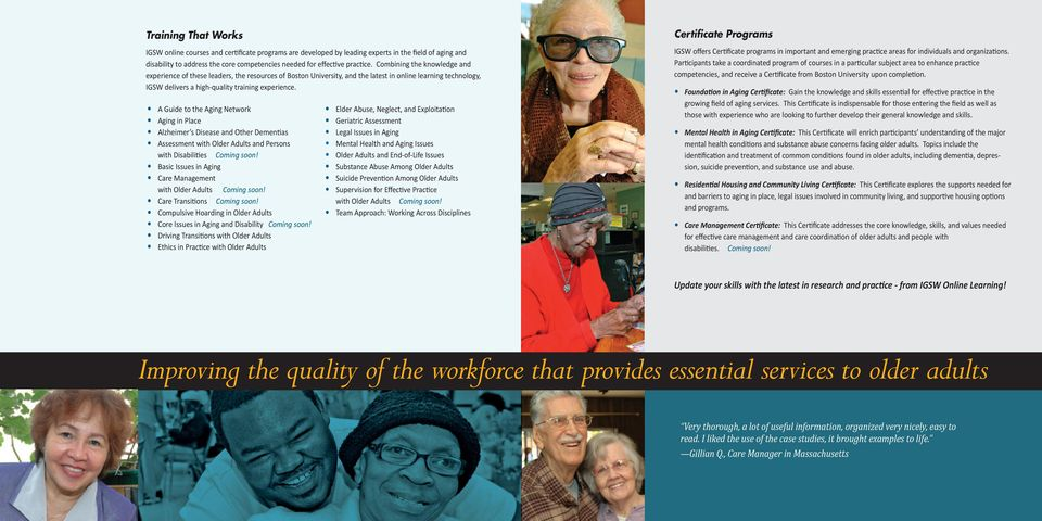 A Guide to the Aging Network Aging in Place Alzheimer s Disease and Other Dementias Assessment with Older Adults and Persons with Disabilities Coming soon!