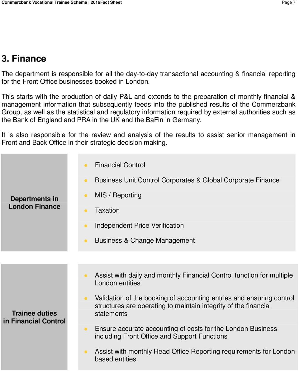 This starts with the production of daily P&L and extends to the preparation of monthly financial & management information that subsequently feeds into the published results of the Commerzbank Group,