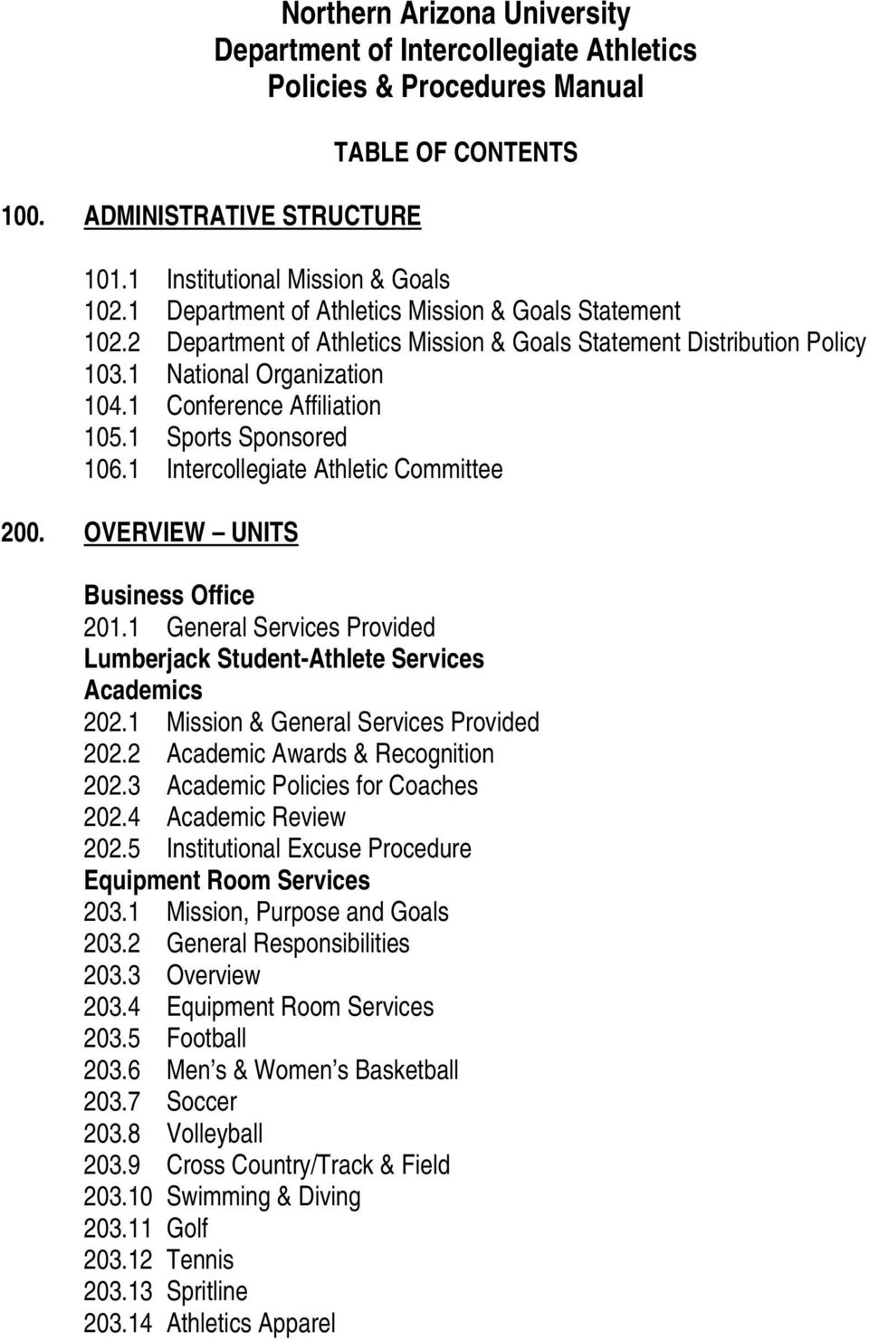 1 Sports Sponsored 106.1 Intercollegiate Athletic Committee 200. OVERVIEW UNITS Business Office 201.1 General Services Provided Lumberjack Student-Athlete Services Academics 202.