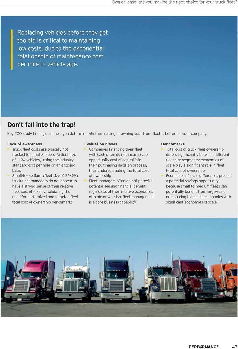 Key TCO study findings can help you determine whether leasing or owning your truck fleet is better for your company.
