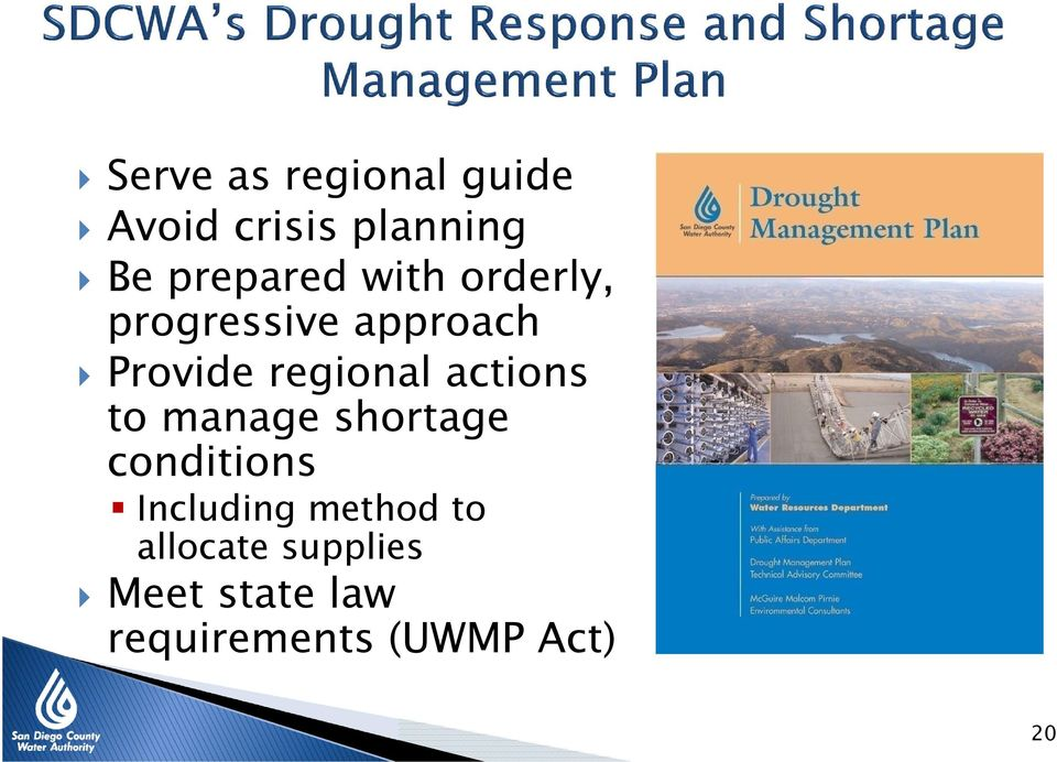 regional actions to manage shortage conditions Including