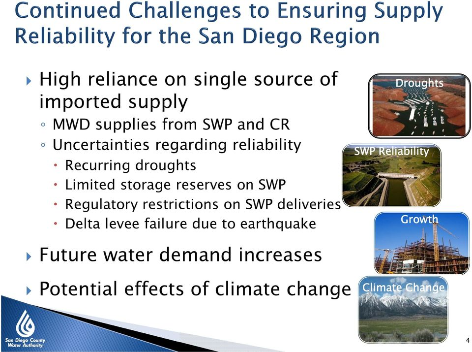 Regulatory restrictions on SWP deliveries Delta levee failure due to earthquake Droughts