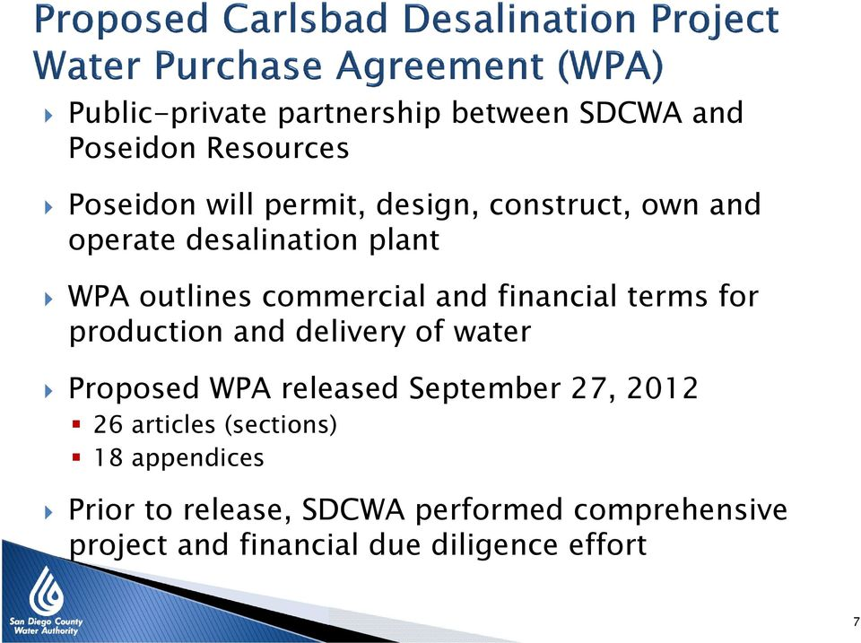 production and delivery of water Proposed WPA released September 27, 2012 26 articles (sections)