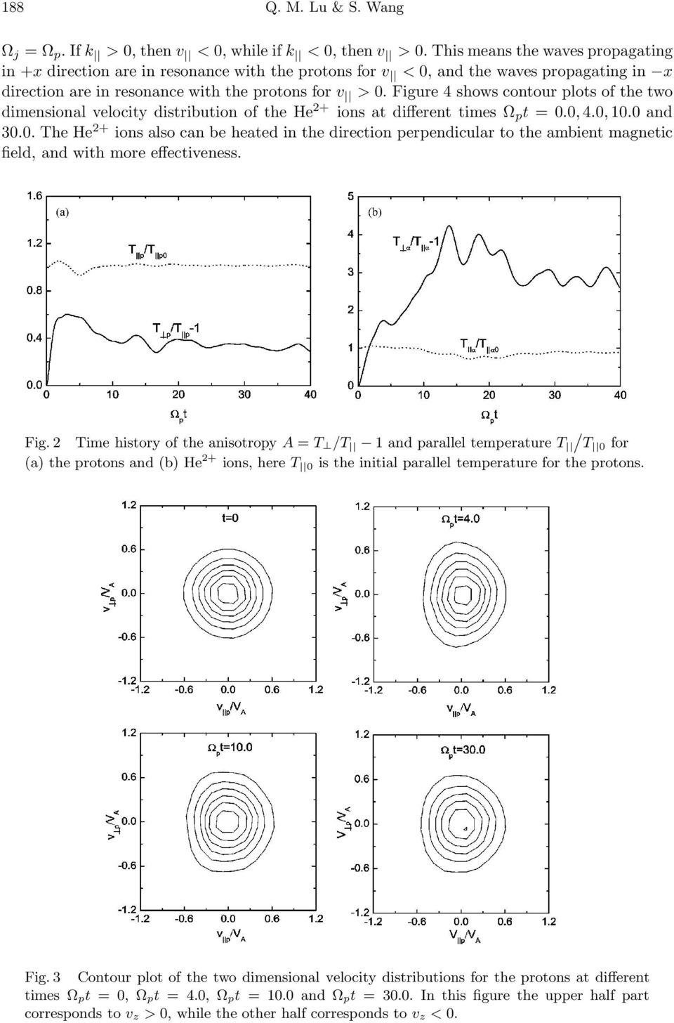 Figure 4 shows contour plots of the two dimensional velocity distribution of the He 2+ ions at different times Ω p t = 0.