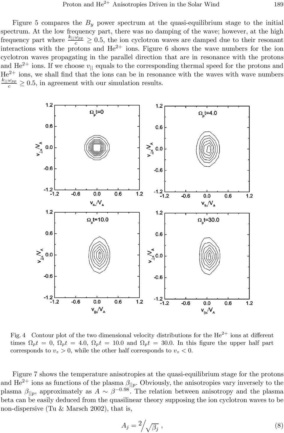 5, the ion cyclotron waves are damped due to their resonant interactions with the protons and He 2+ ions.