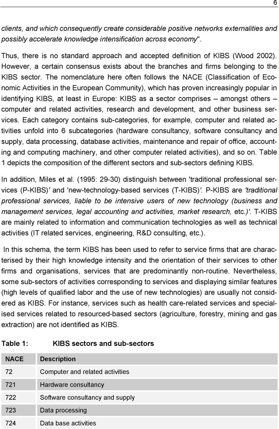 The nomenclature here often follows the NACE (Classification of Economic Activities in the European Community), which has proven increasingly popular in identifying KIBS, at least in Europe: KIBS as