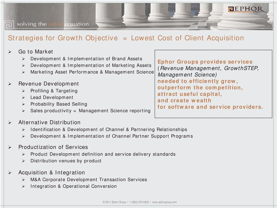 (Revenue Management, GrowthSTEP, Management Science) needed to efficiently grow, outperform the competition, attract useful capital, and create wealth for software and service providers.