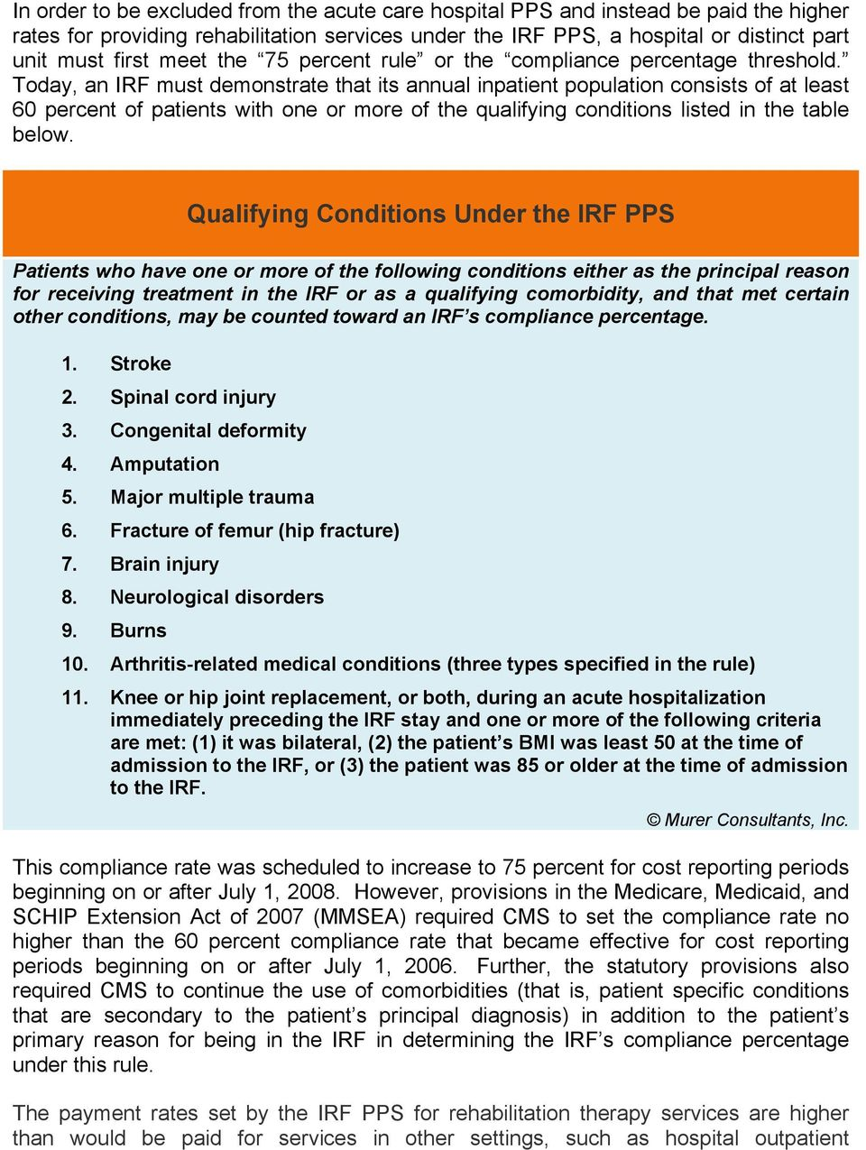 Today, an IRF must demonstrate that its annual inpatient population consists of at least 60 percent of patients with one or more of the qualifying conditions listed in the table below.