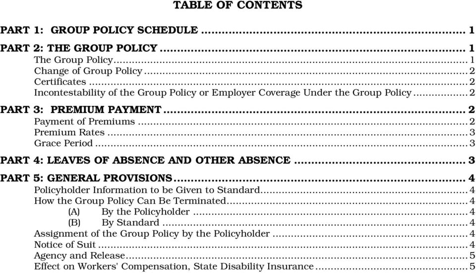 ..3 PART 4: LEAVES OF ABSENCE AND OTHER ABSENCE... 3 PART 5: GENERAL PROVISIONS... 4 Policyholder Information to be Given to Standard...4 How the Group Policy Can Be Terminated.