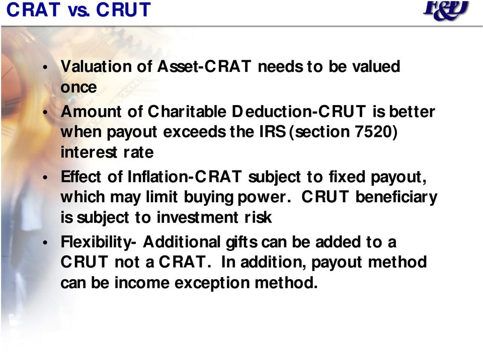 payout exceeds the IRS (section 7520) interest rate Effect of Inflation-CRAT subject to fixed payout,