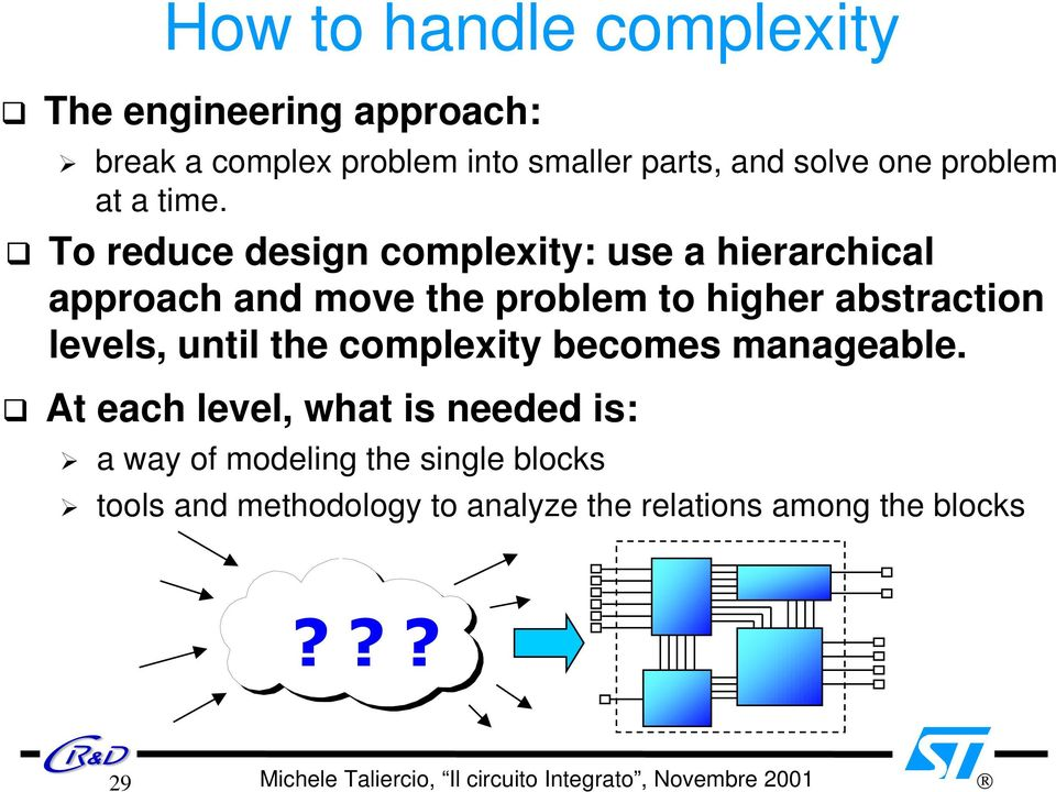 G To reduce design complexity: use a hierarchical approach and move the problem to higher abstraction