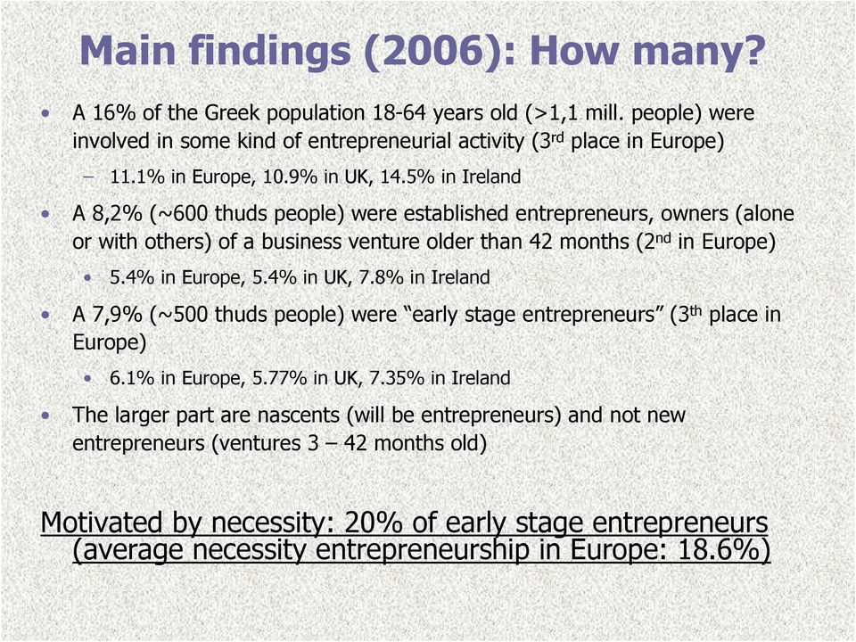 5% in Ireland A 8,2% (~600 thuds people) were established entrepreneurs, owners (alone or with others) of a business venture older than 42 months (2 nd in Europe) 5.4% in Europe, 5.