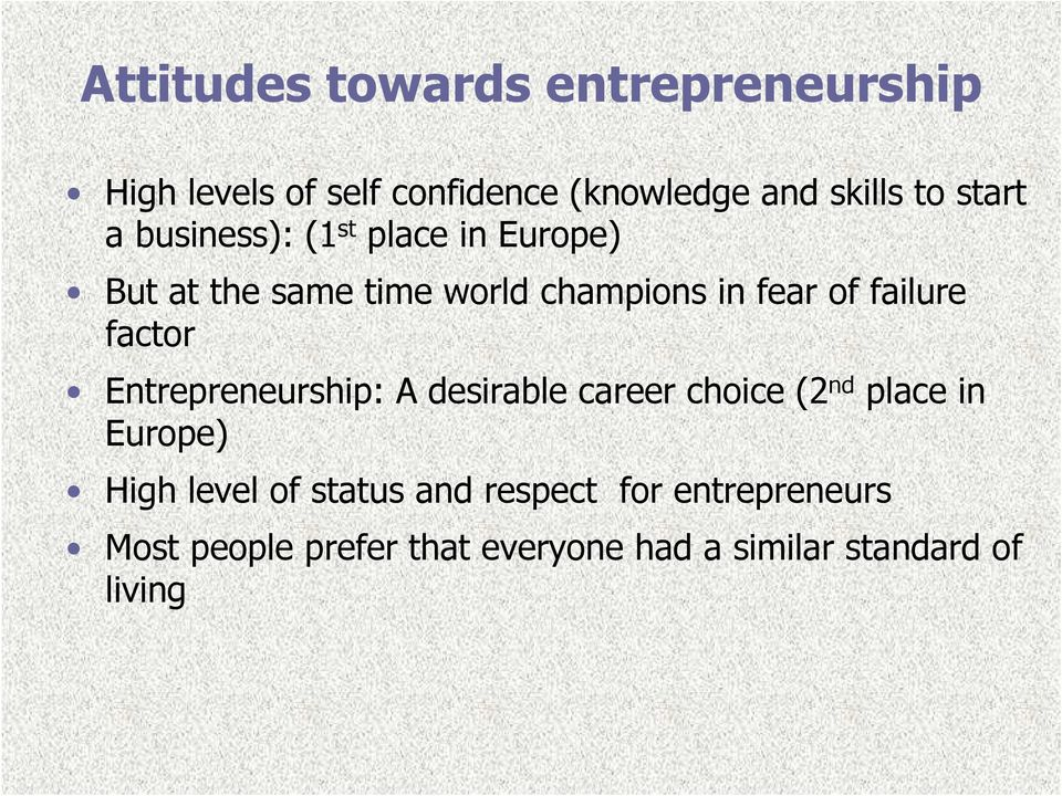 failure factor Entrepreneurship: A desirable career choice (2 nd place in Europe) High level