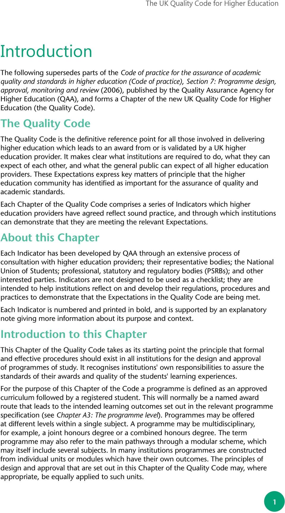 for Higher Education (the Quality Code).