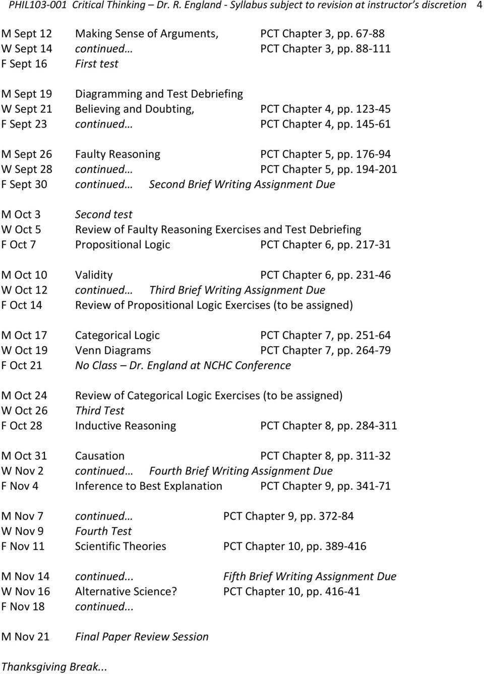 123-45 F Sept 23 continued PCT Chapter 4, pp. 145-61 M Sept 26 Faulty Reasoning PCT Chapter 5, pp. 176-94 W Sept 28 continued PCT Chapter 5, pp.