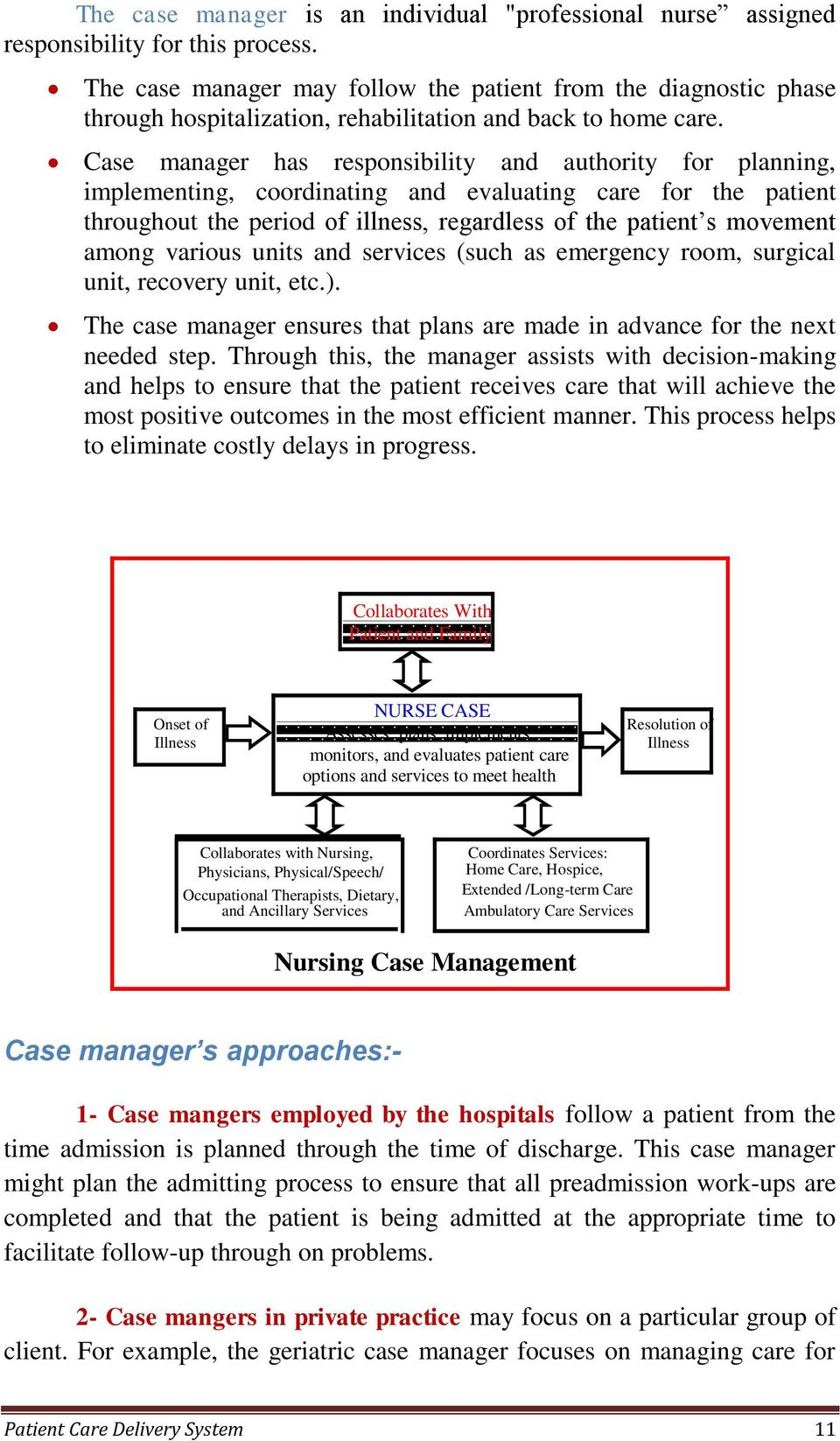 Case manager has responsibility and authority for planning, implementing, coordinating and evaluating care for the patient throughout the period of illness, regardless of the patient s movement among