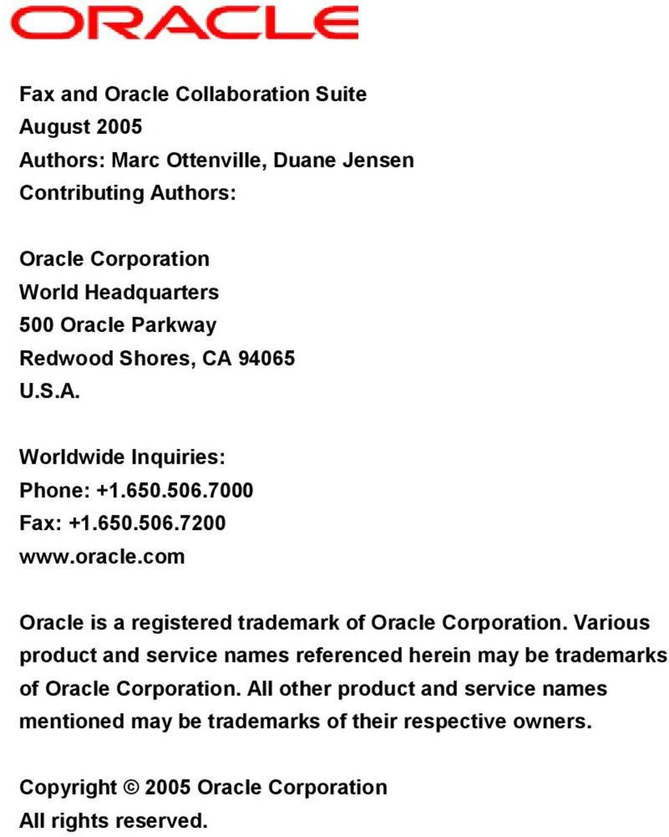 com Oracle is a registered trademark of Oracle Corporation.