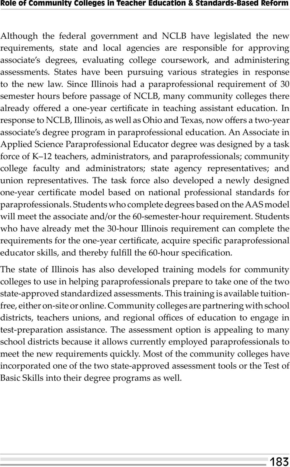 Since Illinois had a paraprofessional requirement of 30 semester hours before passage of NCLB, many community colleges there already offered a one-year certificate in teaching assistant education.