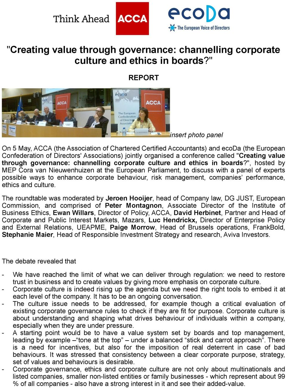 """Creating value through governance: channelling corporate culture and ethics in boards?"