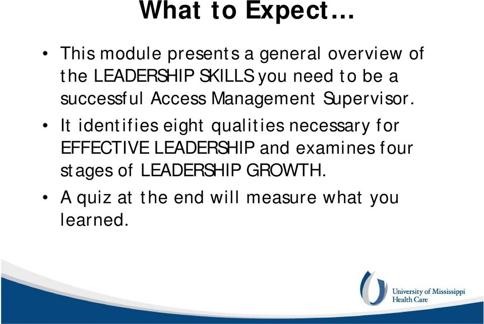 It identifies eight qualities necessary for EFFECTIVE LEADERSHIP and