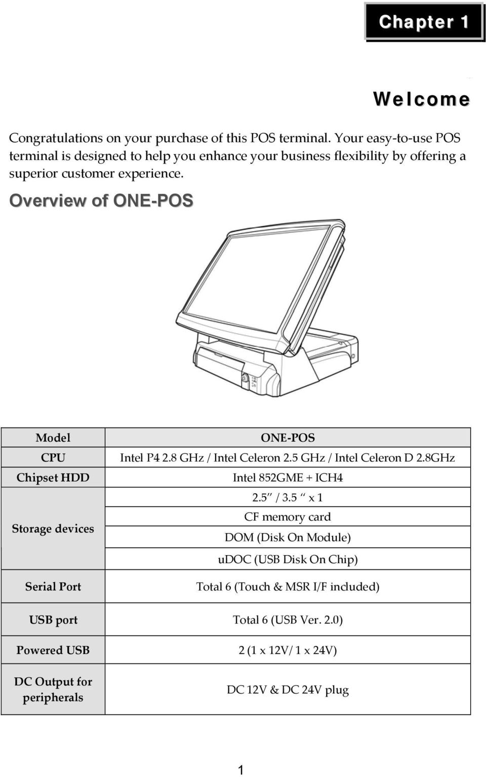 Overview of ONE-POS Model CPU Chipset HDD Storage devices Serial Port ONE-POS Intel P4 2.8 GHz / Intel Celeron 2.5 GHz / Intel Celeron D 2.
