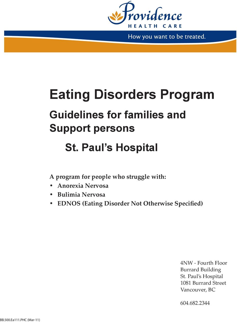 Nervosa EDNOS (Eating Disorder Not Otherwise Specified) 4NW - Fourth Floor Burrard