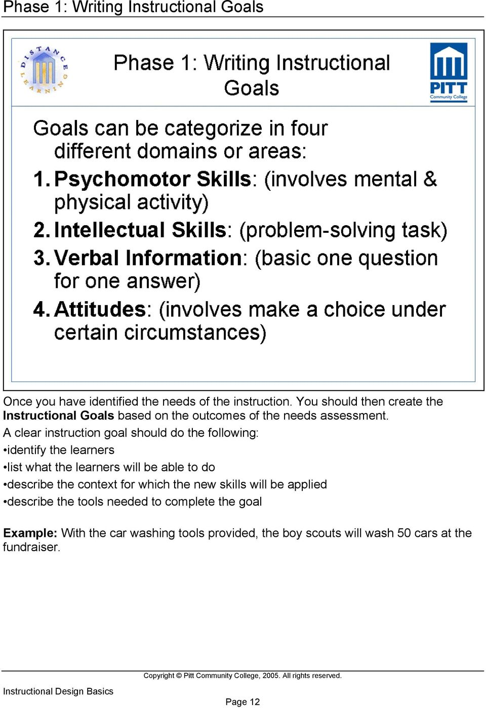 A clear instruction goal should do the following: identify the learners list what the learners will be able to do describe the