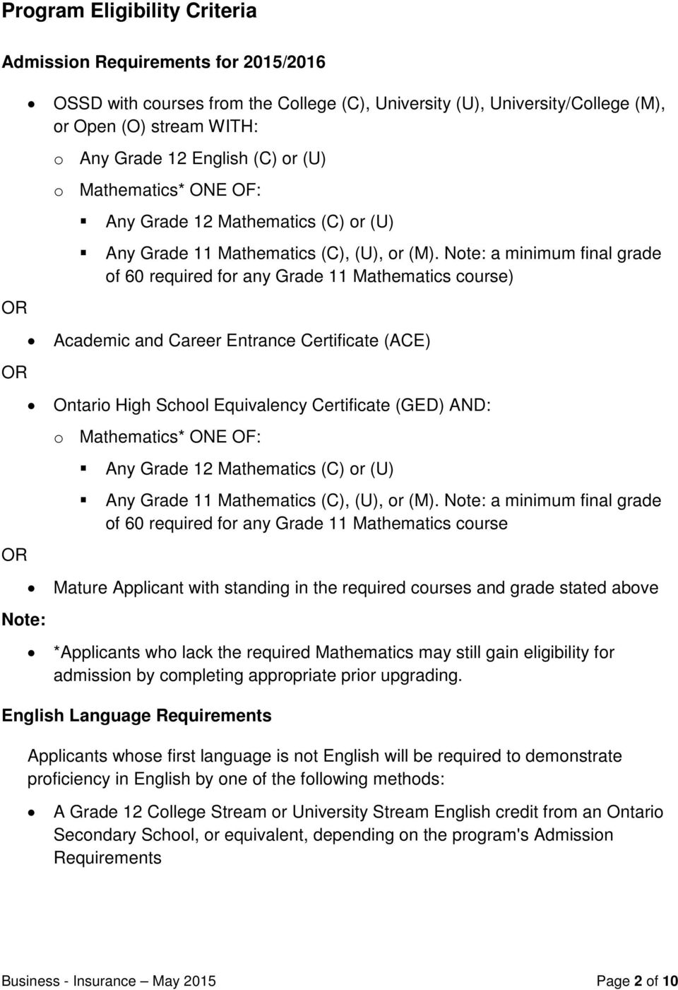Note: a minimum final grade of 60 required for any Grade 11 Mathematics course) Academic and Career Entrance Certificate (ACE) Ontario High School Equivalency Certificate (GED) AND: o Mathematics*