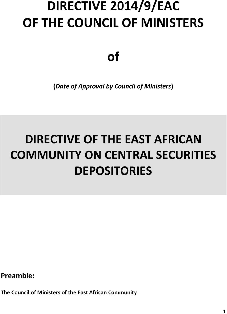 AFRICAN COMMUNITY ON CENTRAL SECURITIES DEPOSITORIES