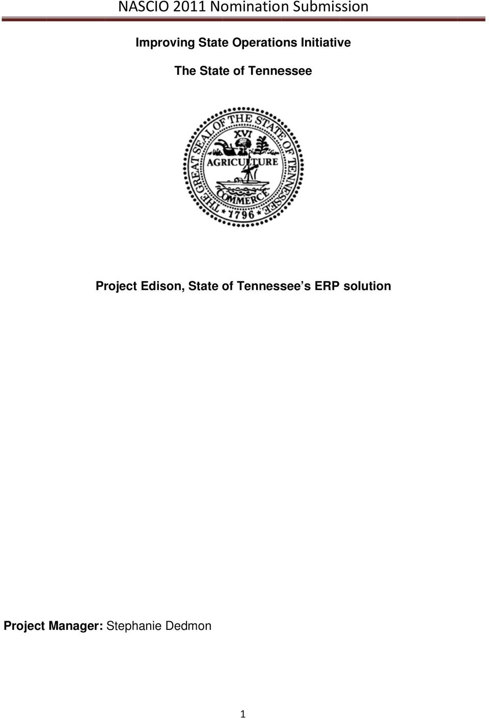 Tennessee Project Edison, State of Tennessee