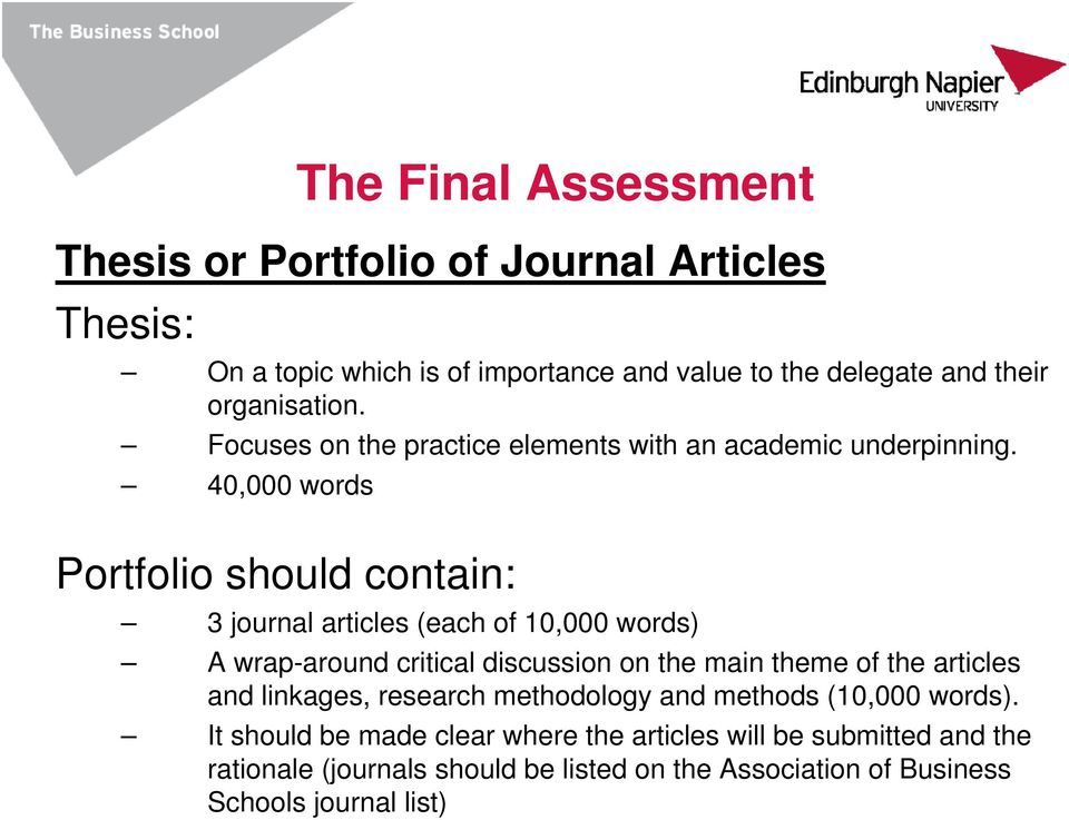 40,000 words Portfolio should contain: 3 journal articles (each of 10,000 words) A wrap-around critical discussion on the main theme of the