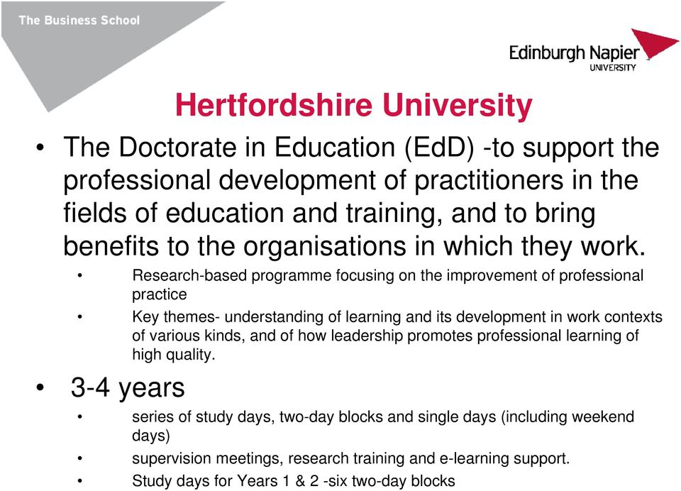 Research-based programme focusing on the improvement of professional practice Key themes- understanding of learning and its development in work contexts of various