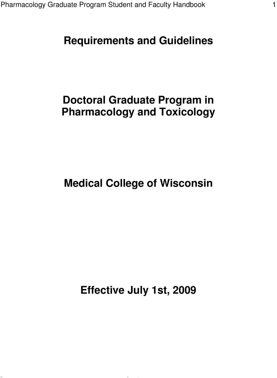 Doctoral Graduate Program in Pharmacology and