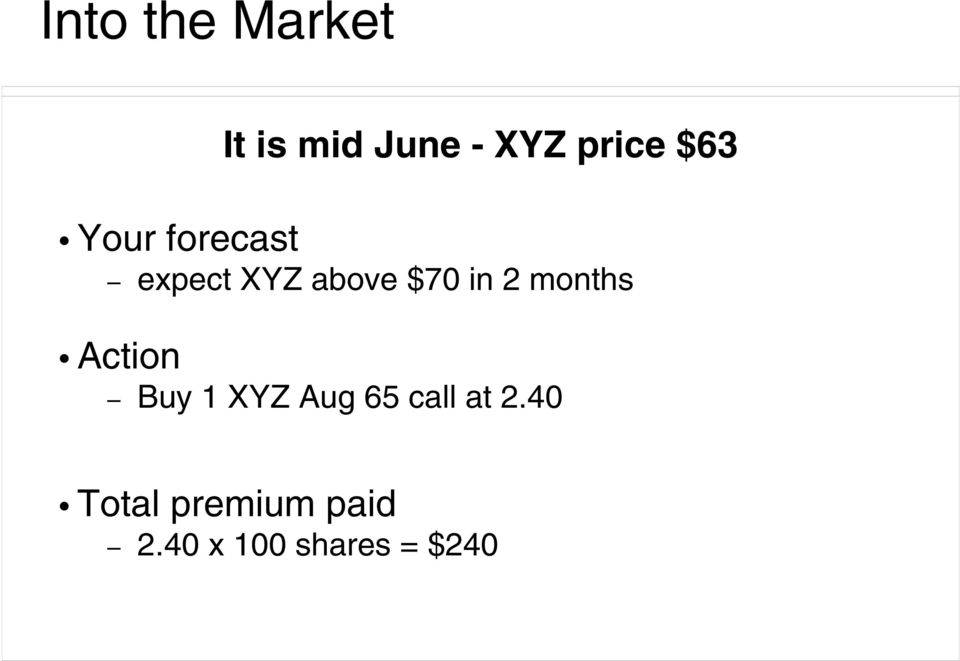 months Action Buy 1 XYZ Aug 65 call at 2.