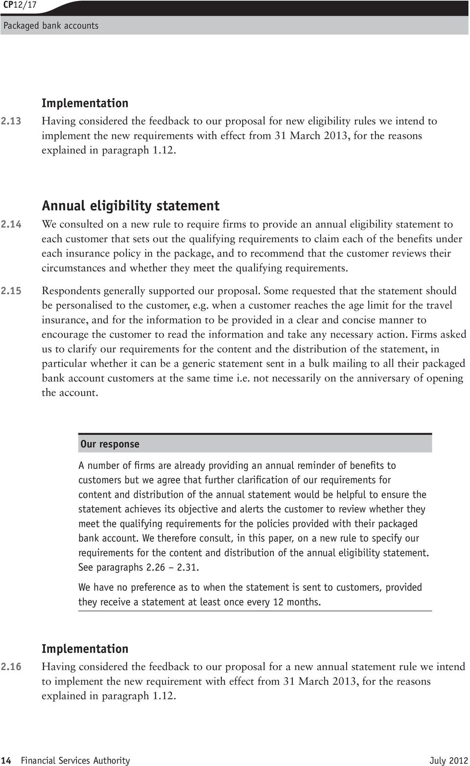 Annual eligibility statement 2.