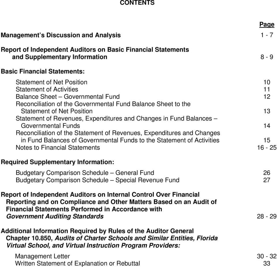 and Changes in Fund Balances Governmental Funds 14 Reconciliation of the Statement of Revenues, Expenditures and Changes in Fund Balances of Governmental Funds to the Statement of Activities 15 Notes
