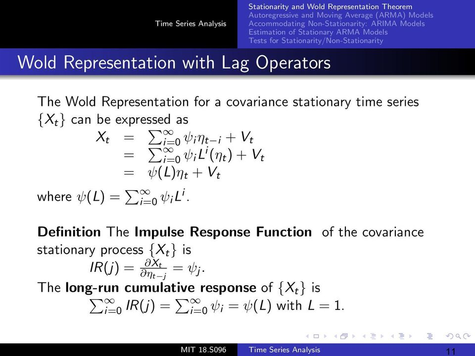 Definition The Impulse Response Function of the covariance stationary process {X t } is IR(j) = Xt η t j = ψ j.