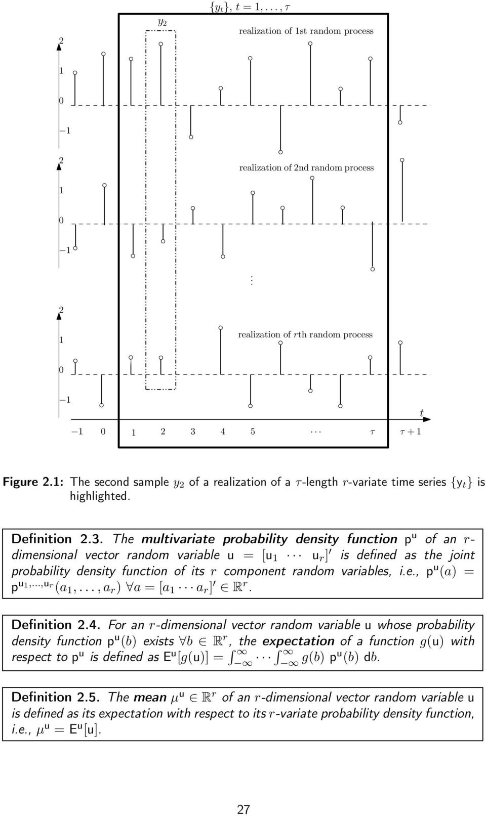 Te multivariate probability density function p u of an r- dimensional vector random variable u = [u 1 u r ] is defined as te joint probability density function of its r component random variables, i.