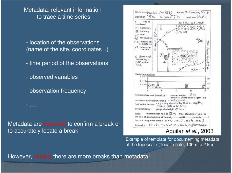 .. Metadata are essential to confirm a break or to accurately locate a break (Aguilar et al.