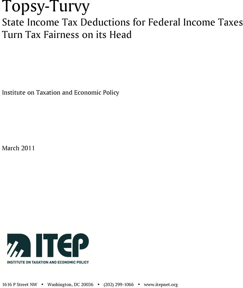 on Taxation and Economic Policy March 2011 1616 P