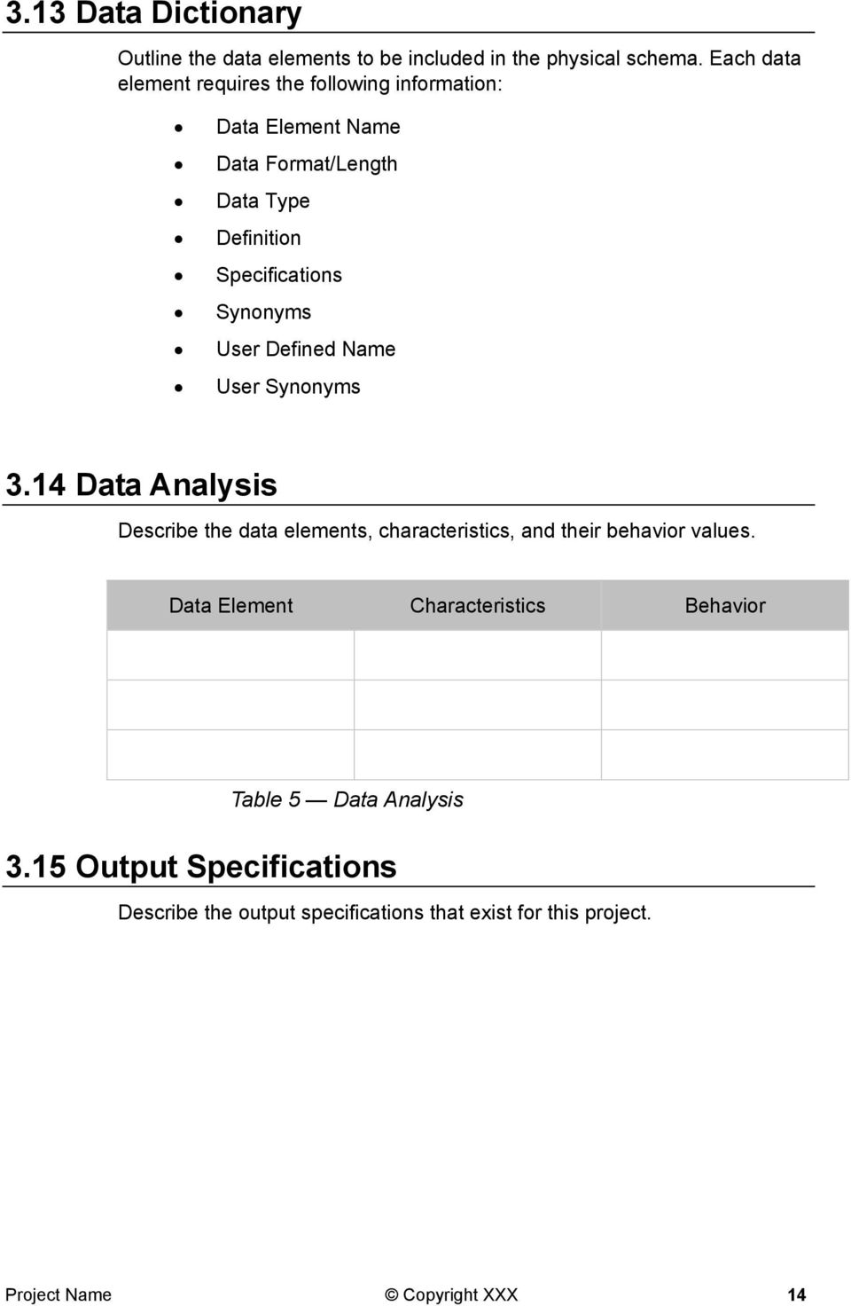 Synonyms User Defined Name User Synonyms 3.14 Data Analysis Describe the data elements, characteristics, and their behavior values.