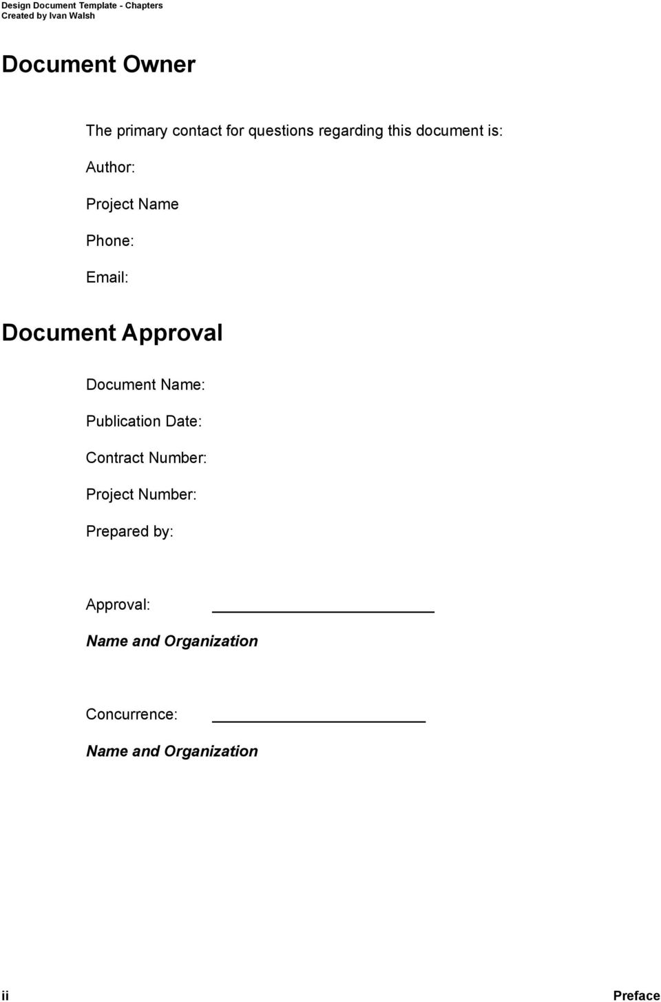 Document Approval Document Name: Publication Date: Contract Number: Project Number: